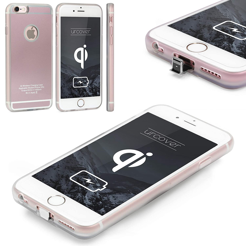 Urcover® Funda de Carga Inalámbrica | Premium | Apple iPhone 6 Plus / 6s Plus | Receptor Qi Integrado | Oro Rosa | Backcase Cargador Carga Rapida ...
