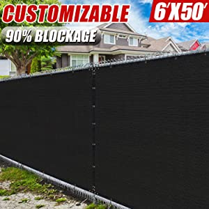 Amgo 6' x 50' Black Fence Privacy Screen Windscreen,with Bindings & Grommets, Heavy Duty for Commercial and Residential, 90% Blockage, Cable Zip Ties Included, (Available for Custom Sizes)