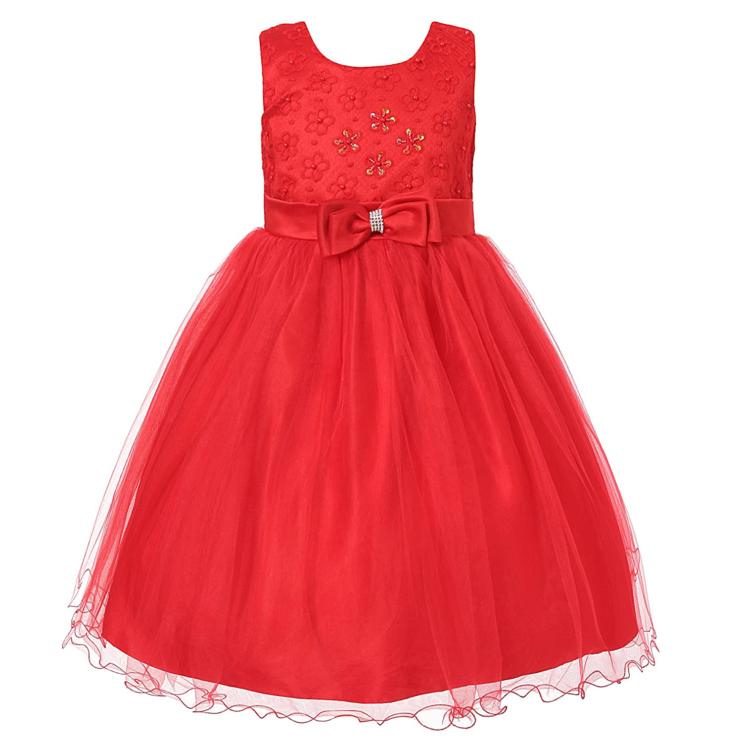 Richie House Girls' Princess Dress Mesh and Bow Size 3-11Y RH1935