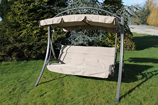 Olive Grove Chatsworth Thick Luxury 3 Seater Garden Swing Seat With Cushions
