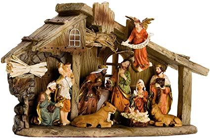 brubaker christmas holiday decoration real life nativity set stable with 11 resin figurines - Nativity Christmas Decorations