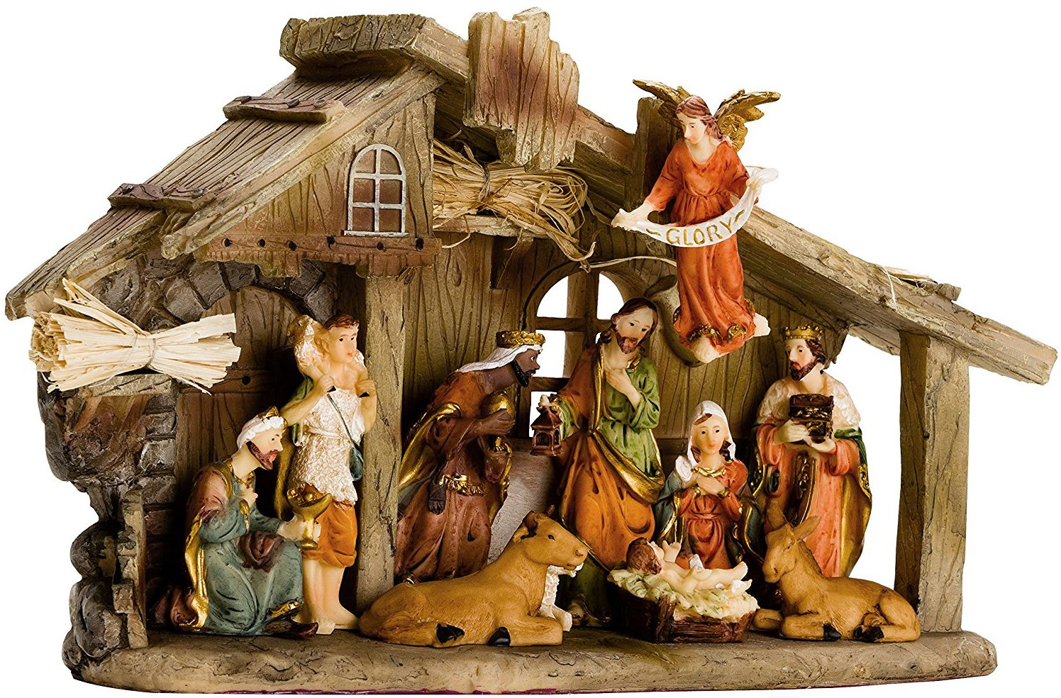 BRUBAKER Christmas Real Life Nativity Scene Set - Holiday Decoration - Stable with 11 Resin Figurines (not re-arrangeable) - Designed in Germany - Revised Package