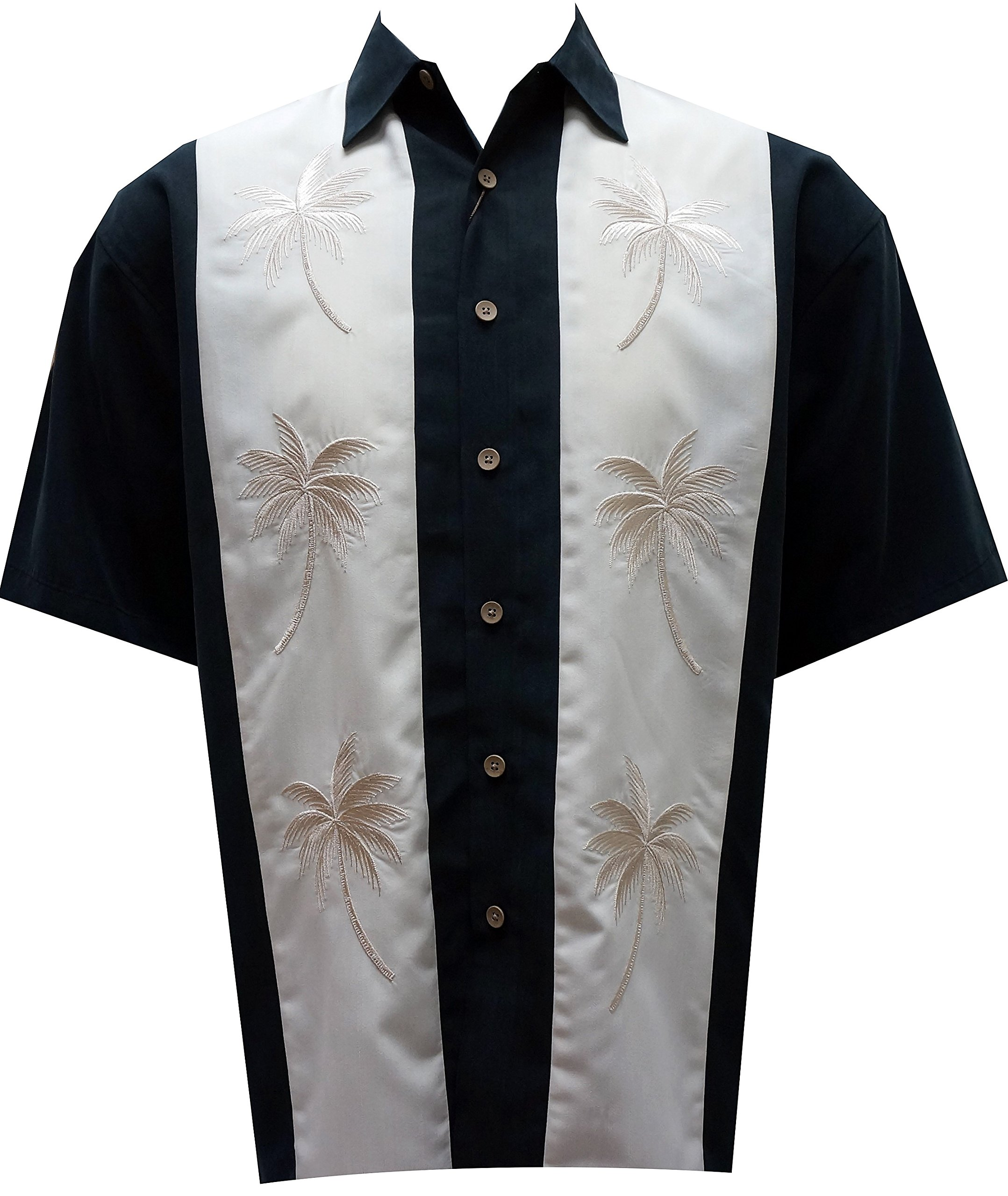 Bamboo Cay Mens Pacific Paneled Palms, Tropical Style Button Front Embroidered Camp Shirt (X-Large, Black)