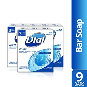 Dial Antibacterial Deodorant Soap, White, 4 Ounce, 9 Bars