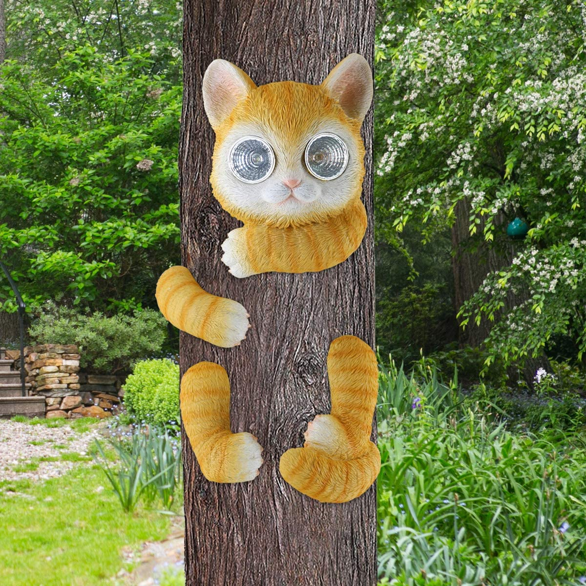 LIMEIDE Upgraded Big Size Tree Hugger/Peeker/Sculpture Art Decor/Decoration Whimsical Solar Light Orange Cat for Garden Yard Outdoor