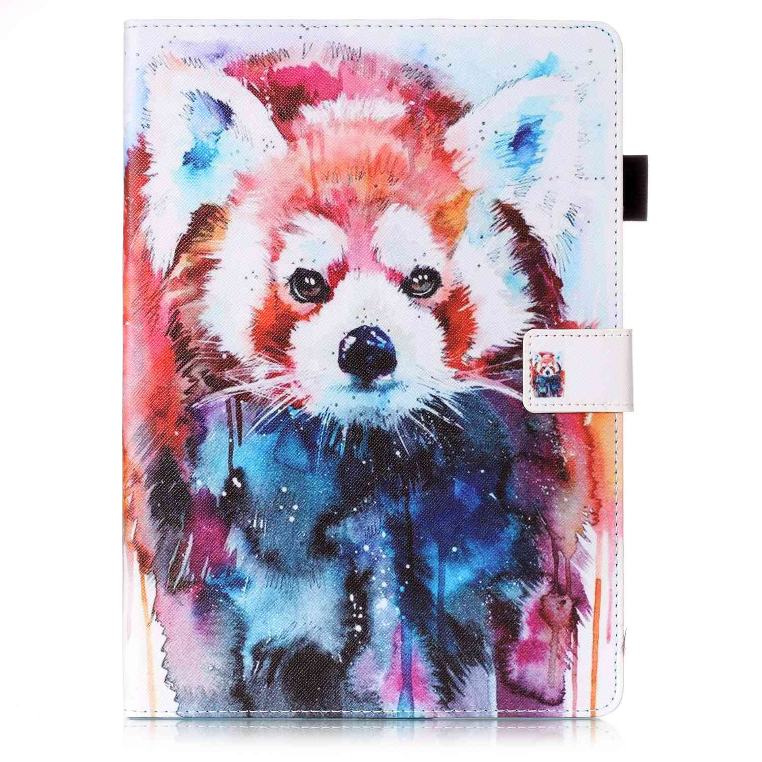 New iPad Case Smart Leather Case - UNOTECH Card Slot Protective Case with Pen Holder Wake/Sleep Function for New iPad 9.7 Inch 2017,iPad Air 1 2, Leopard Cat by UNOTECH (Image #2)