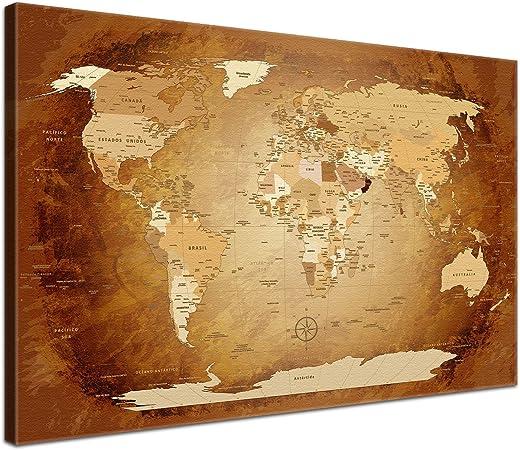 LanaKK - Mapamundi MARRÓN - ESPAÑOL - Imagen Mapa del mundo de la lona XXL tierra continentes marrón de África Nueva York (60 x 40 cm, una pieza, marrón): Amazon.es: Hogar