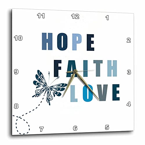 3dRose DPP_99181_2 Blue Butterfly Inspirational Hope, Faith and Love-Wall Clock, 13 by 13-Inch