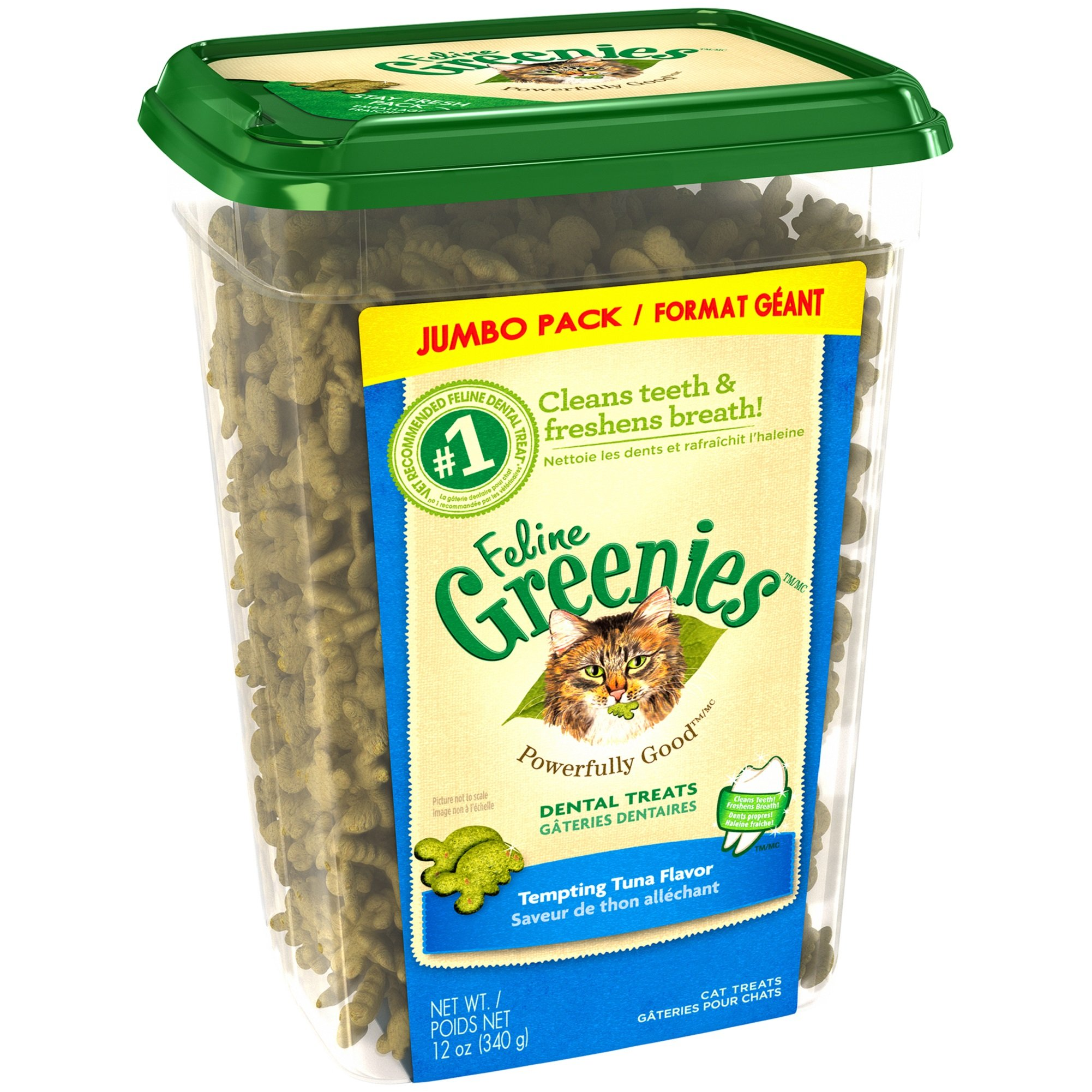 Greenies FELINE Dental Treats For Cats Tempting Tuna Flavor 12 oz. With Natural Ingredients Plus Vitamins, Minerals, And Other Nutrients