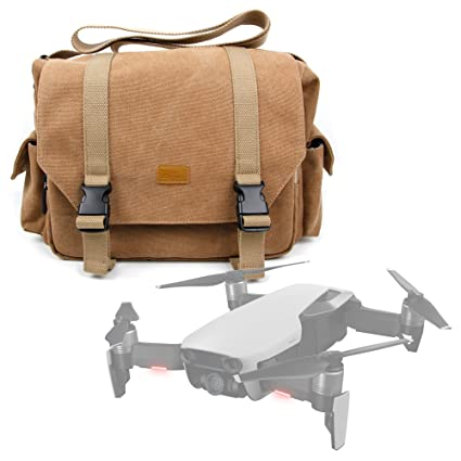 DURAGADGET Tan-Brown Large Sized Canvas Carry Bag with Multiple Pockets /& Customizable Interior Compartment Compatible with DJI Mavic Air /& DJI Mavic Pro Platinum Edition