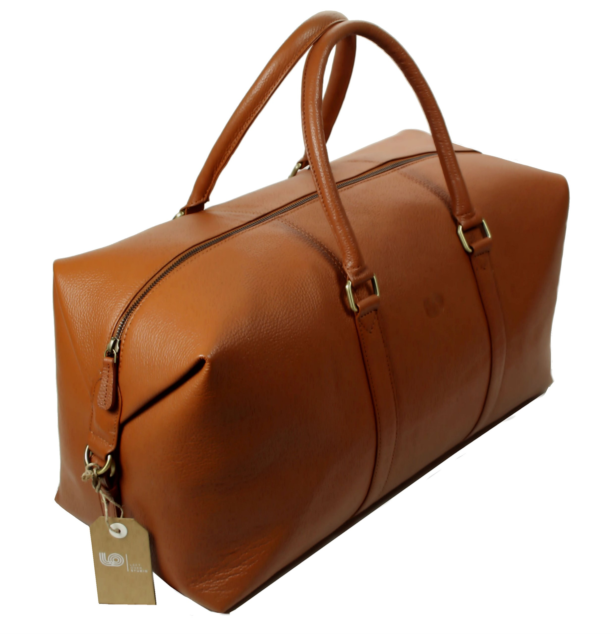 LeftOver Studio Expandable Weekend Overnight Travel Duffel Bag in Tan Top Grain Cow Leather by Leftover Studio (Image #4)