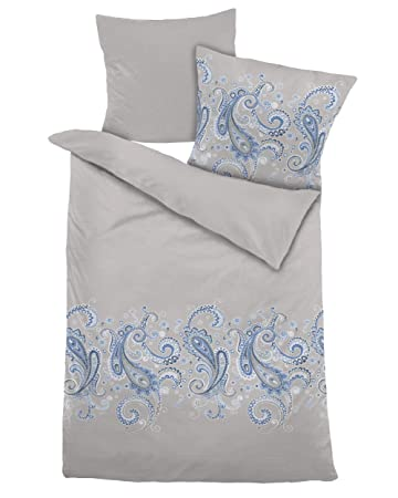 Dormisette Bettwäsche Mako Satin Ornament Blau 135 X 200 Cm 100
