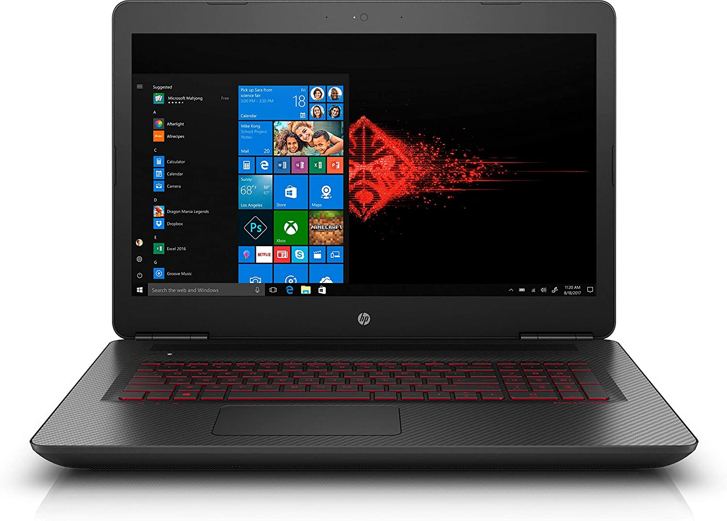 HP OMEN 17.3-inch Gaming Laptop: Core i7-7700HQ, NVIDIA GeForce GTX 1050 Ti, 16GB RAM, 256GB SSD + 1TB HDD, Full HD