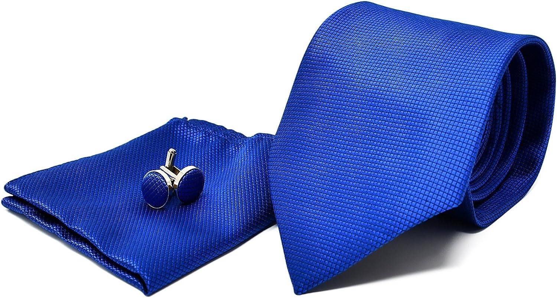 Luxus Seide Krawatte Set Schwarz Blau gestreift Einstecktuch Knöpfe Breit K171