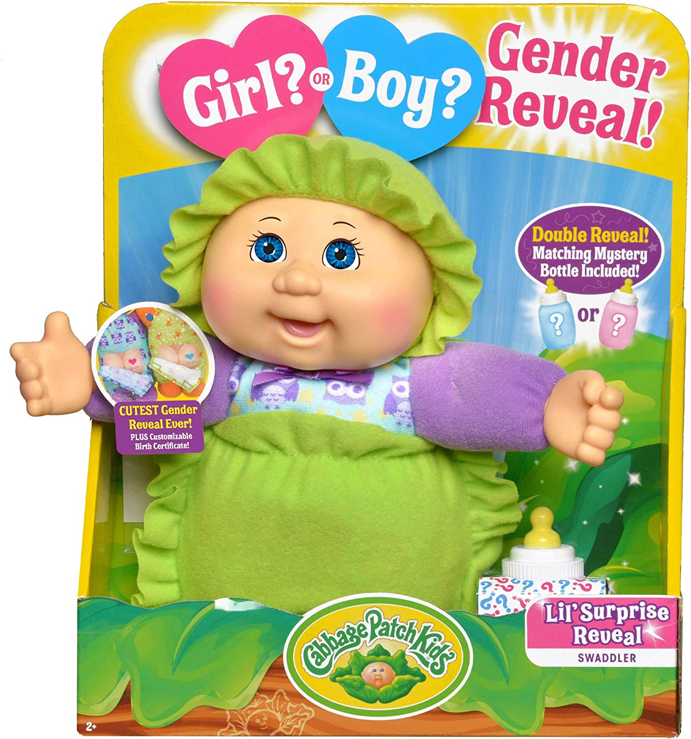 """Cabbage Patch Kids New Surprise Gender Reveal 9"""" Deluxe Newborn Baby (Blue Eyes, Girl)"""
