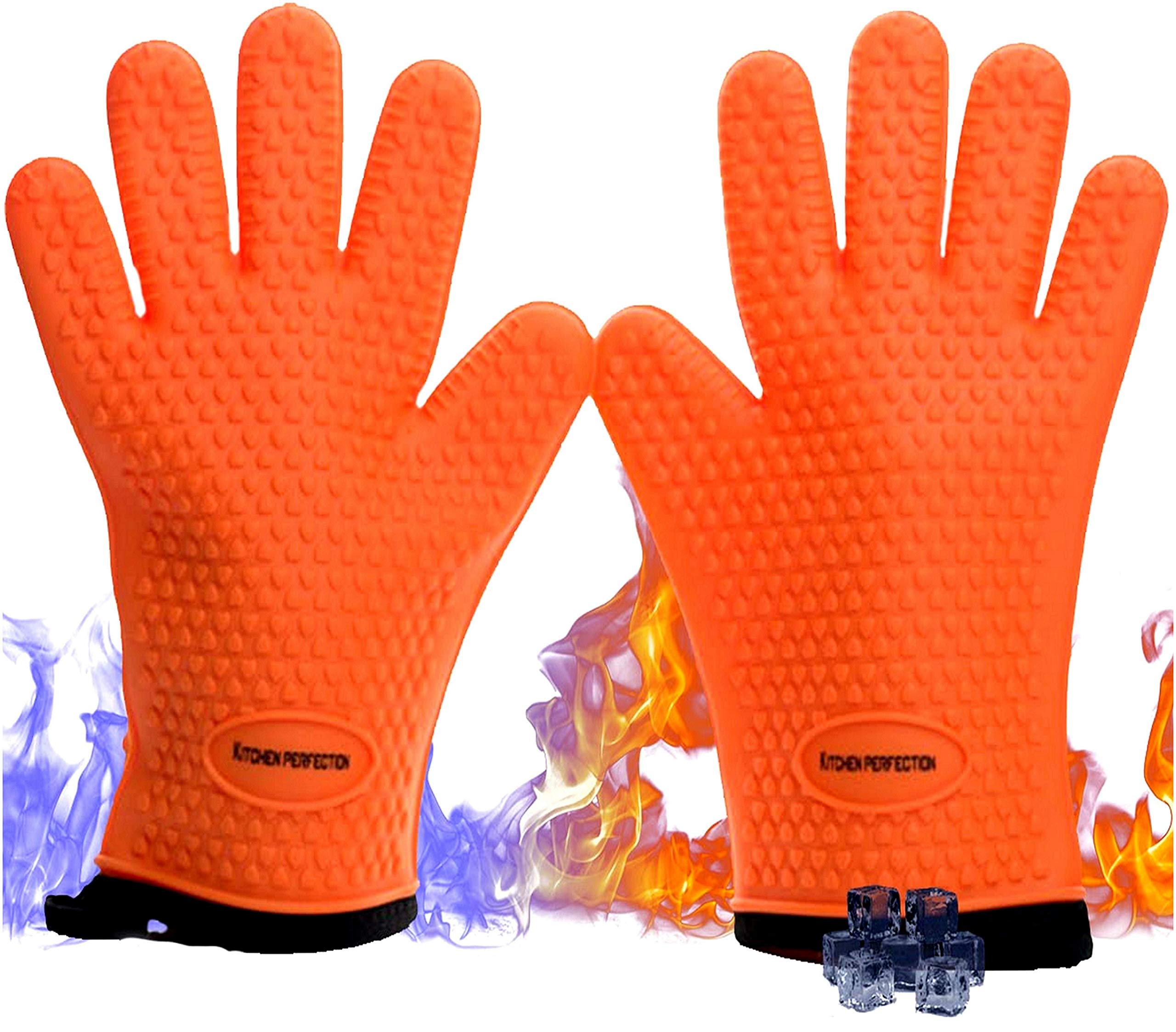 No.1 Set of Silicone Smoker Oven Gloves - Extreme Heat Resistant Washable Mitts for Safe Cooking Baking & Frying at The Kitchen,BBQ Pit & Grill. Superior Value Set + 3 Bonuses (Orange) by Kitchen perfection