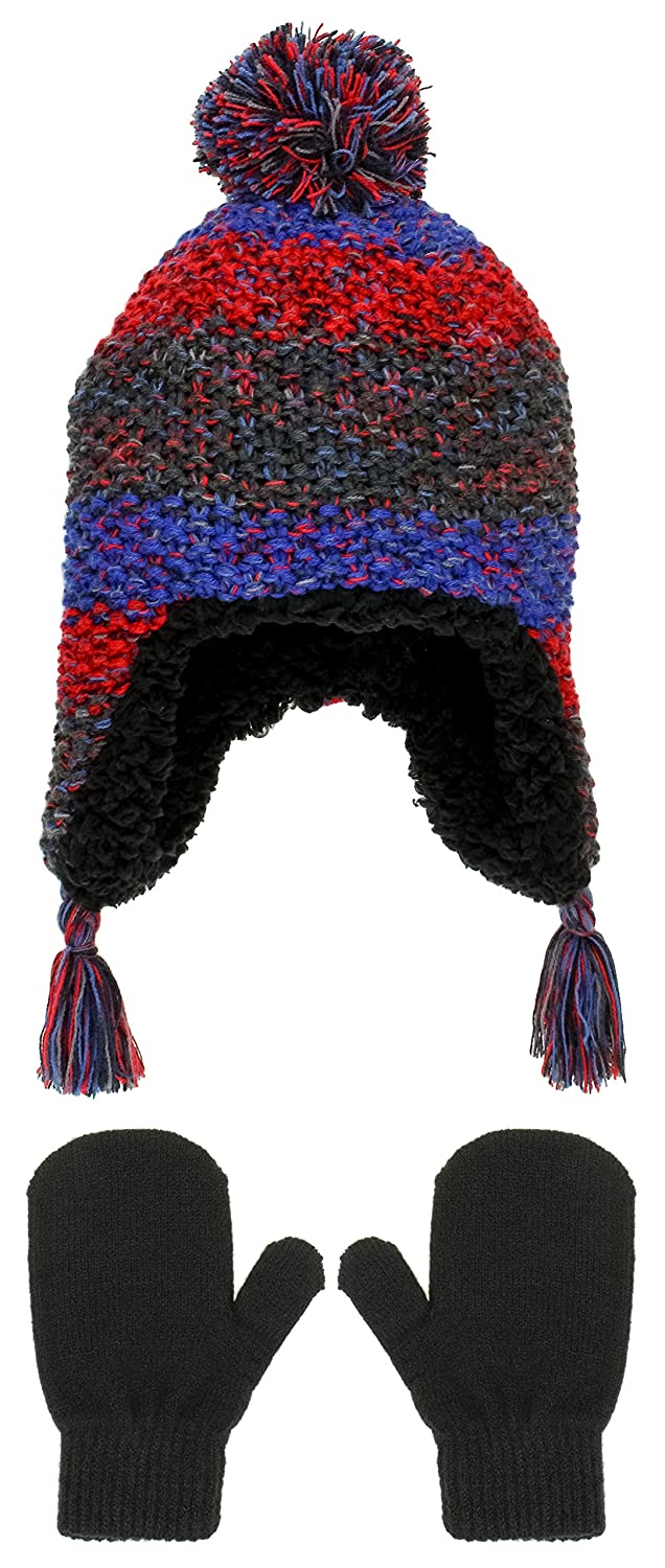 Capelli New York Boys Earflap Hat With Yarn Pom and Magic Mitten Set
