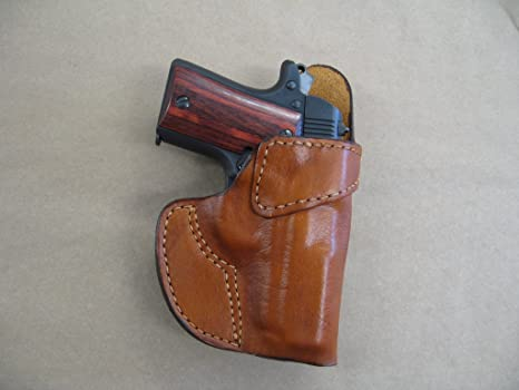Kimber Micro 9 9mm Leather Clip On OWB Belt Concealment Holster CCW - TAN RH