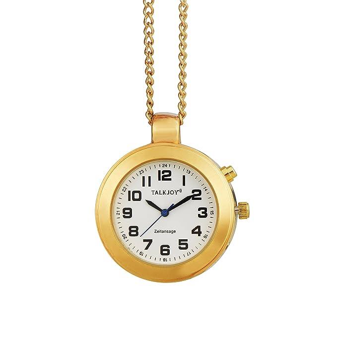 Reloj Parlante de Oro Colgante umhänge Reloj Mujer Avisos en Tiempo de Oro Cadena Reloj de Bolsillo Ancianos Reloj Muñeca Reloj