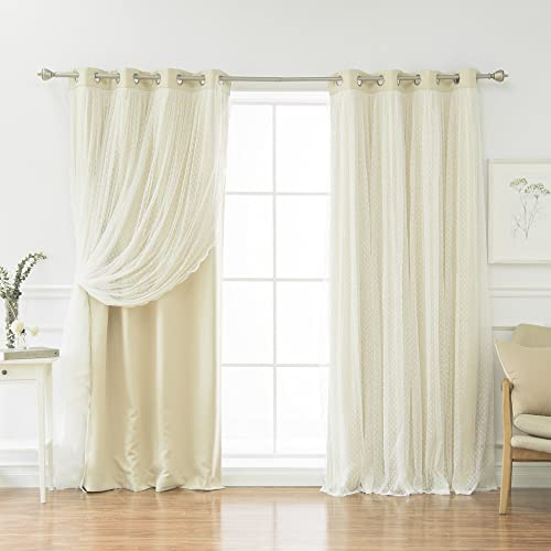 Best Home Fashion Closeout Dotted Lace Overlay Thermal Insulated Blackout Curtain
