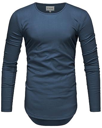 480132a7531462 Crone Herren Langarm Shirt Longsleeve Slim Fit T-Shirt Leicht Oversize Basic  Sweatshirt in vielen