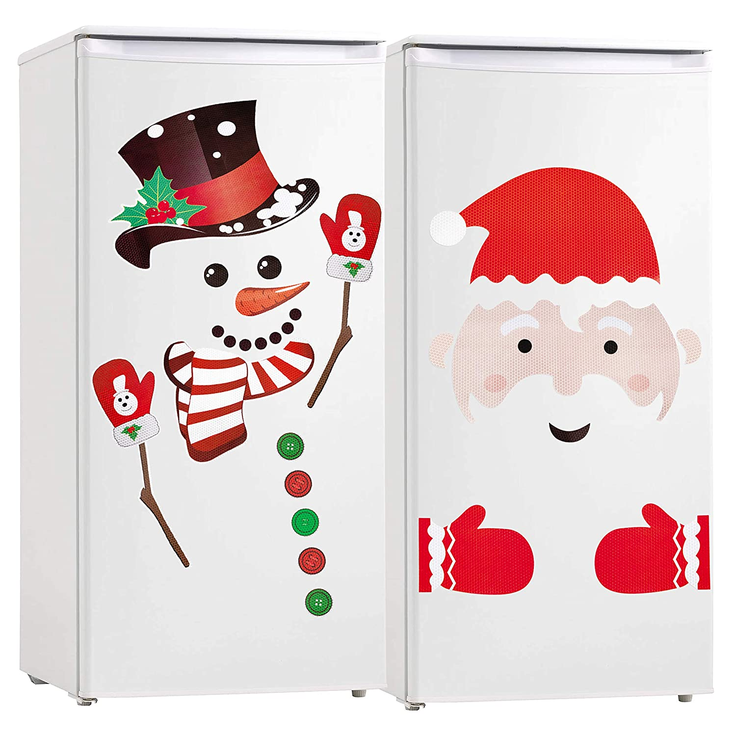 Christmas Refrigerator Magnets Reflective Snowman Santa Clause Decorations Xmas Holiday Garage Fridge Kitchen Cute Funny Decor