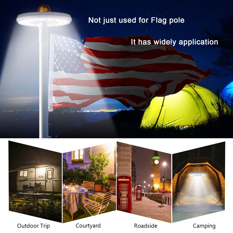 Solar Flag Pole Lights 32 LED Solar Powered Flagpole Lighting Night Light Kit for 15 to 25 Ft Top (Built-in Li-ion Battery) by Feelle (Image #7)
