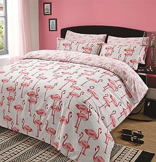 Neon Effekt Zeichen Flamingos Sterne Hearts Baumwolle Schwarz Mischung Einzelbett Duvet Cover