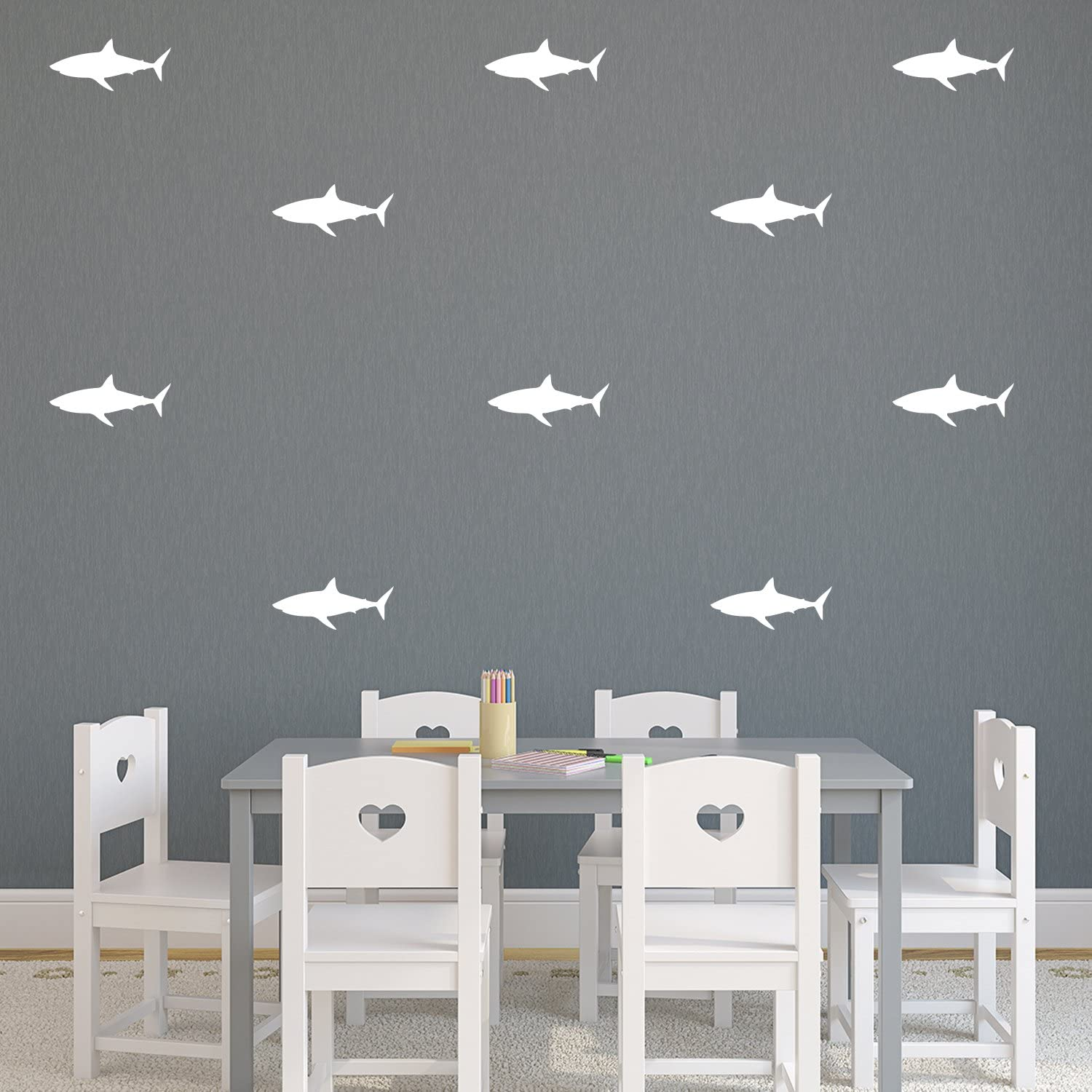 """Set of 21 Vinyl Wall Art Decals - Shark Patterns - 3"""" x 7"""" Each - Cool Adhesive Sticker Shapes For Boys Toddlers Teens Bedroom Playroom Living Room Home Apartment Decorations (3"""" x 7"""", White)"""