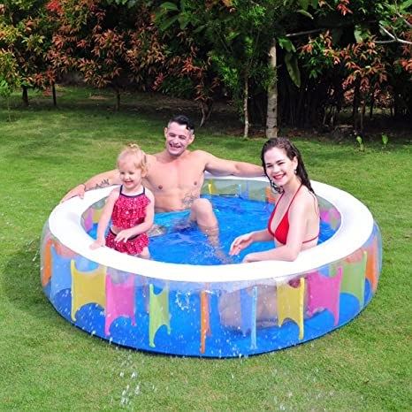 Crystals Piscina hinchable gigante de arcoíris para verano al aire libre, jardín, familia divertida