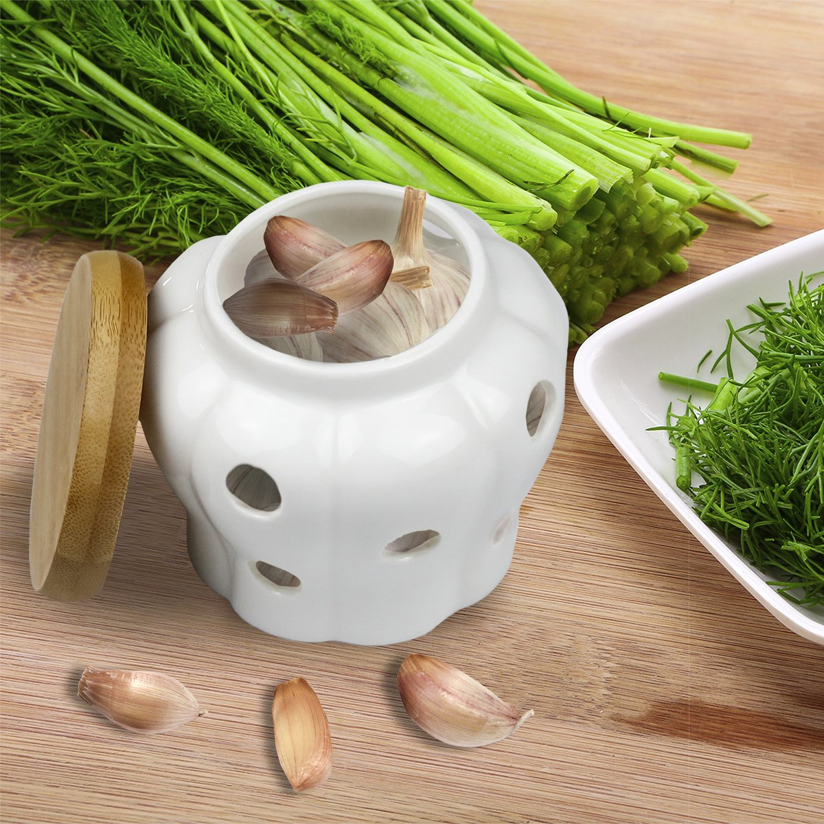 B079FQ5T42 Garlic Keeper, Bekmore Ceramic Garlic Storage Container Vented White Stoneware with Bamboo Lid 510o2GyjSaL