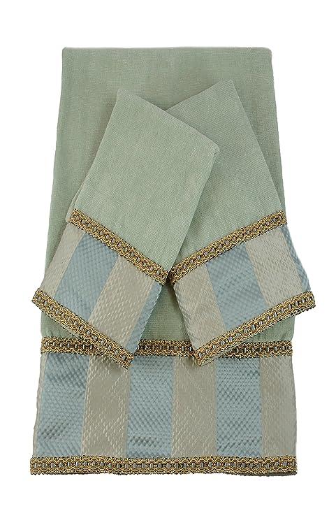 Austin cuerno clásicos Genevieve rayas Seamist lujo decorativo juego de toallas