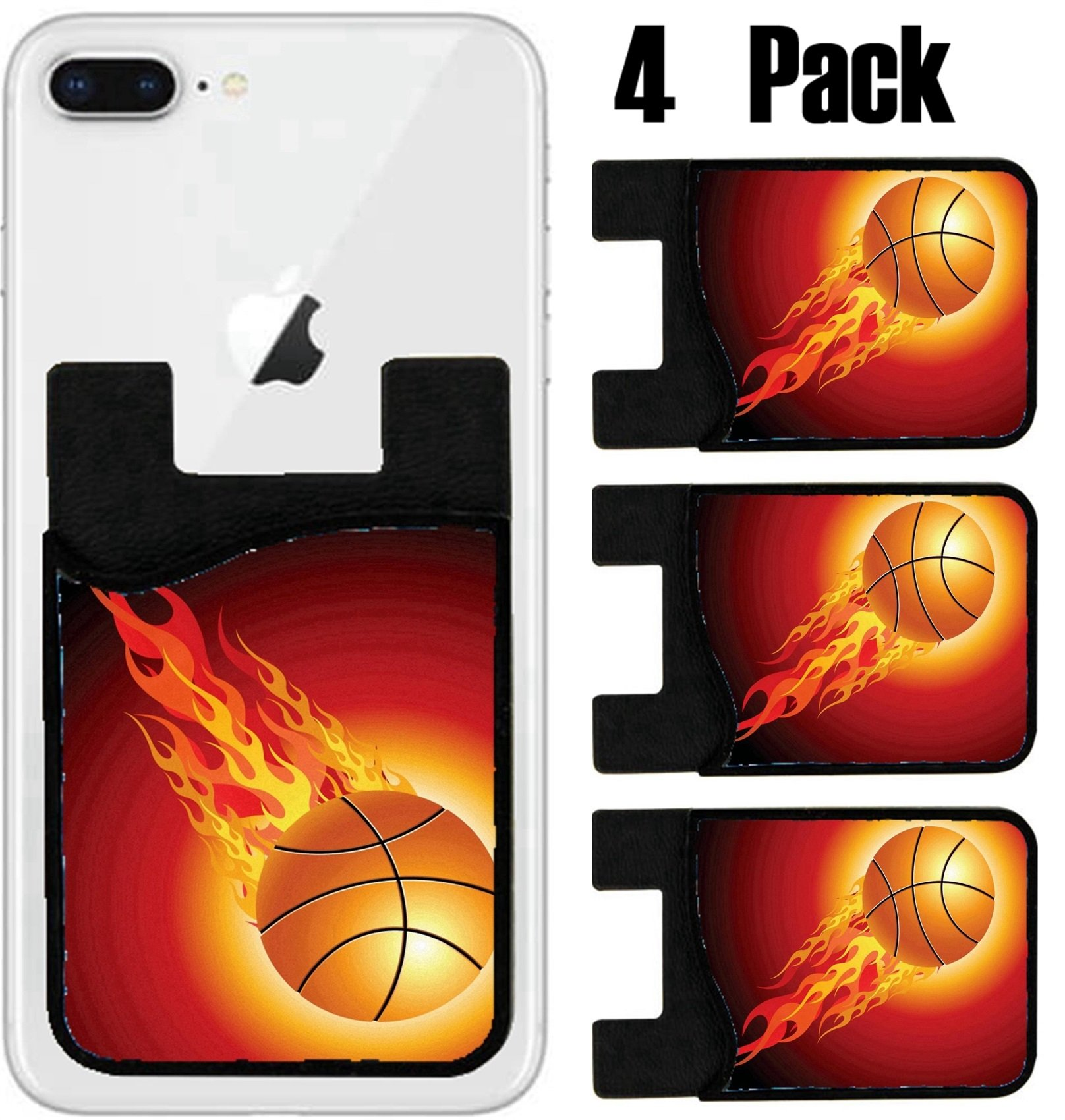 MSD Phone Card holder, sleeve/wallet for iPhone Samsung Android and all smartphones with removable microfiber screen cleaner Silicone card Caddy(4 Pack) Fiery basketball ball flying upwards on a black