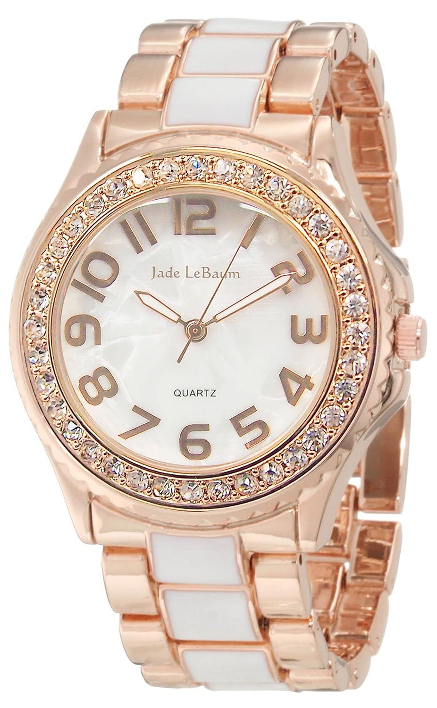 Amazon.com: Womens Boyfriend Watch Two Tone Bracelet Rose Gold Tone and White Designer Inspired Jade LeBaum JB202744G: Jade LeBaum: Watches