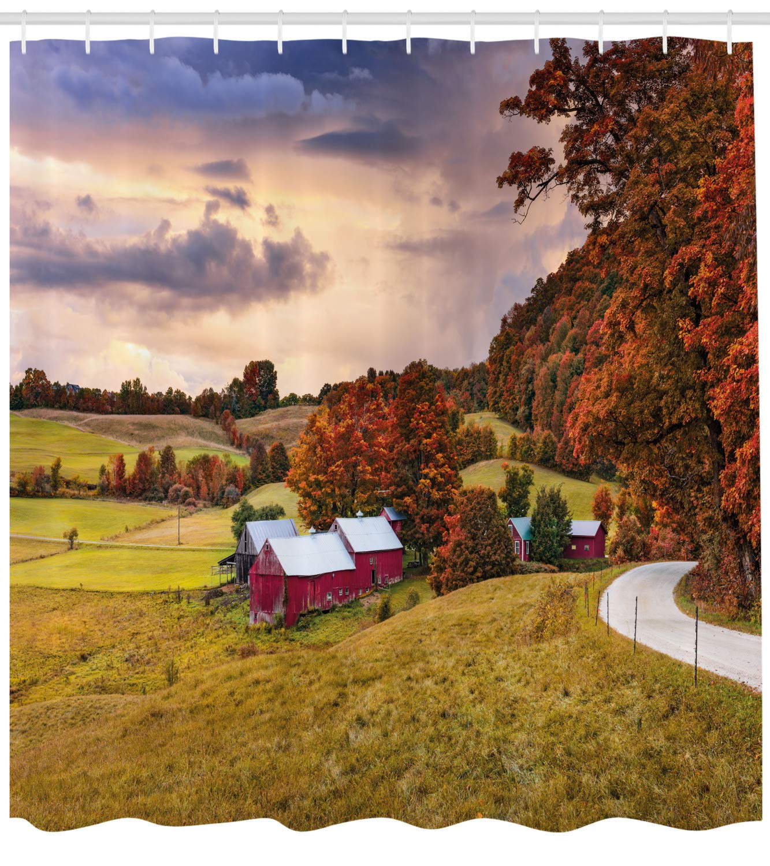 Lunarable Landscape Shower Curtain, Autumn Scene Jenne Farm in Vermont United States Barn Fall Season Historic Places, Cloth Fabric Bathroom Decor Set with Hooks, 105'' Extra Wide, Multicolor