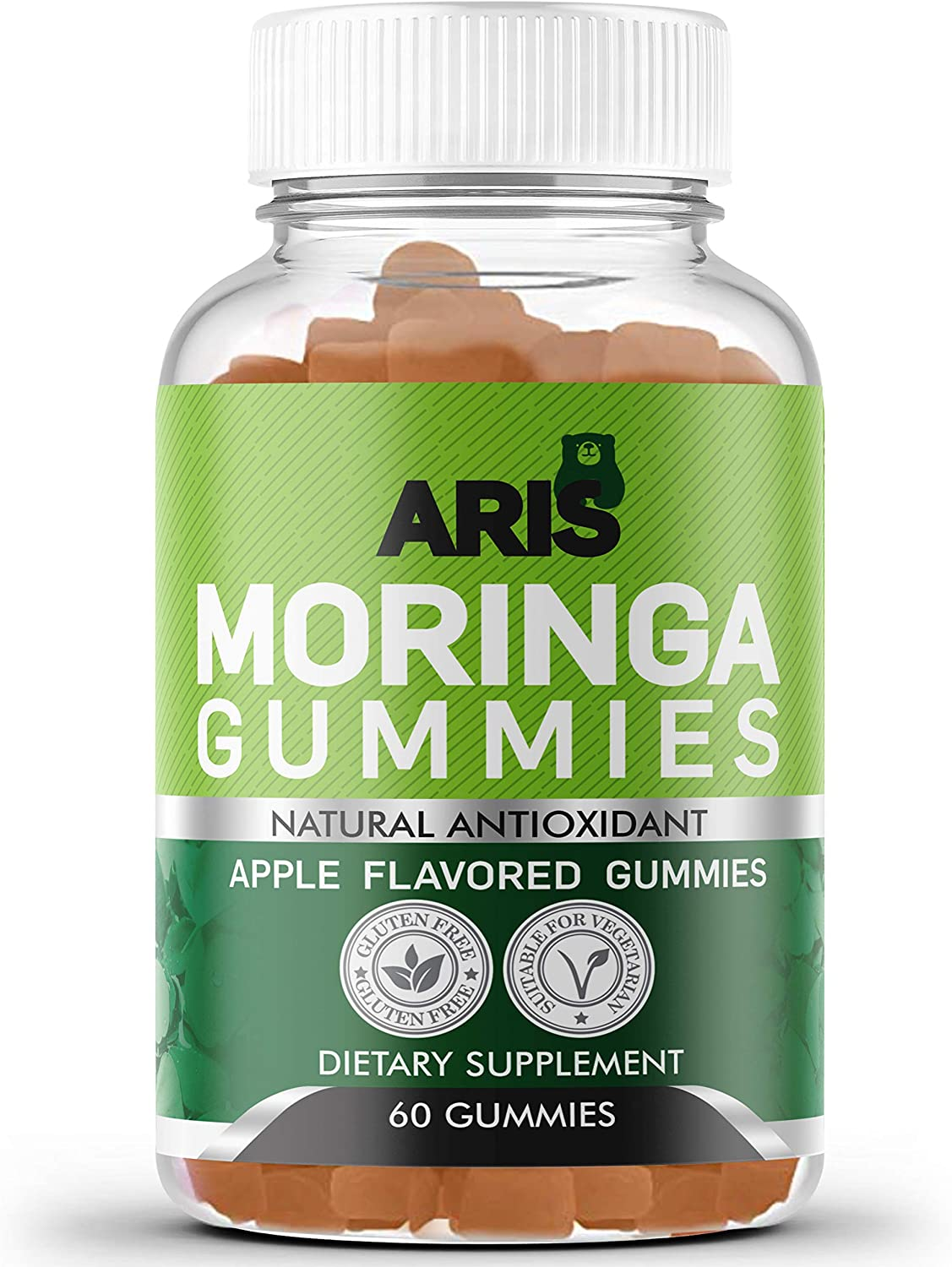 Aris Moringa Gummies from Miracle Tree Leaf, Rich in Vitamins and Antioxidants. This Superfood Supplement is a great Sourse of Nutrients and Minerals, 60 Chewable