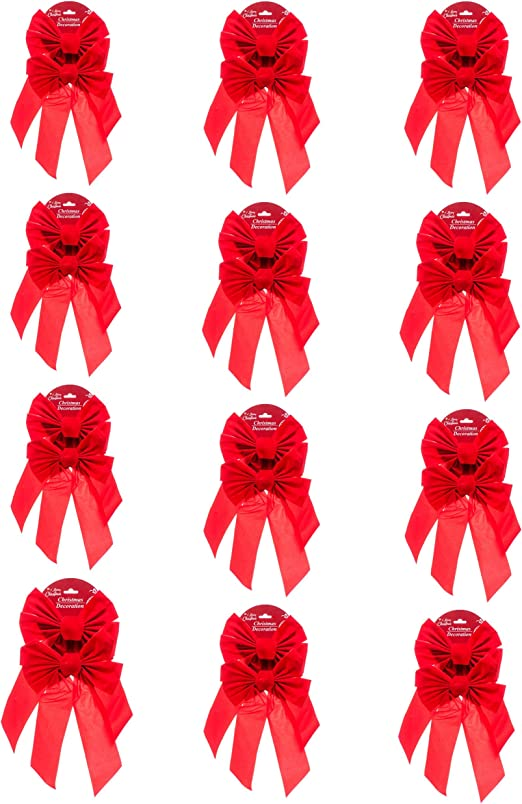 Patelai 12 Pieces Christmas Red Velvet Bows Large Bow Tie Holiday Bow for Christmas Decoration 16 by 10 Inches