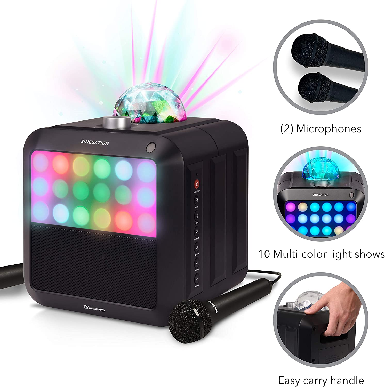 Portable Karaoke Machine - Singsation Star Burst - System Comes w/ 2 Mics, Room-Filling Light Show, Retro Light Panel & Works via Bluetooth - No CDs Required - YouTube Your Favorite Karaoke Songs