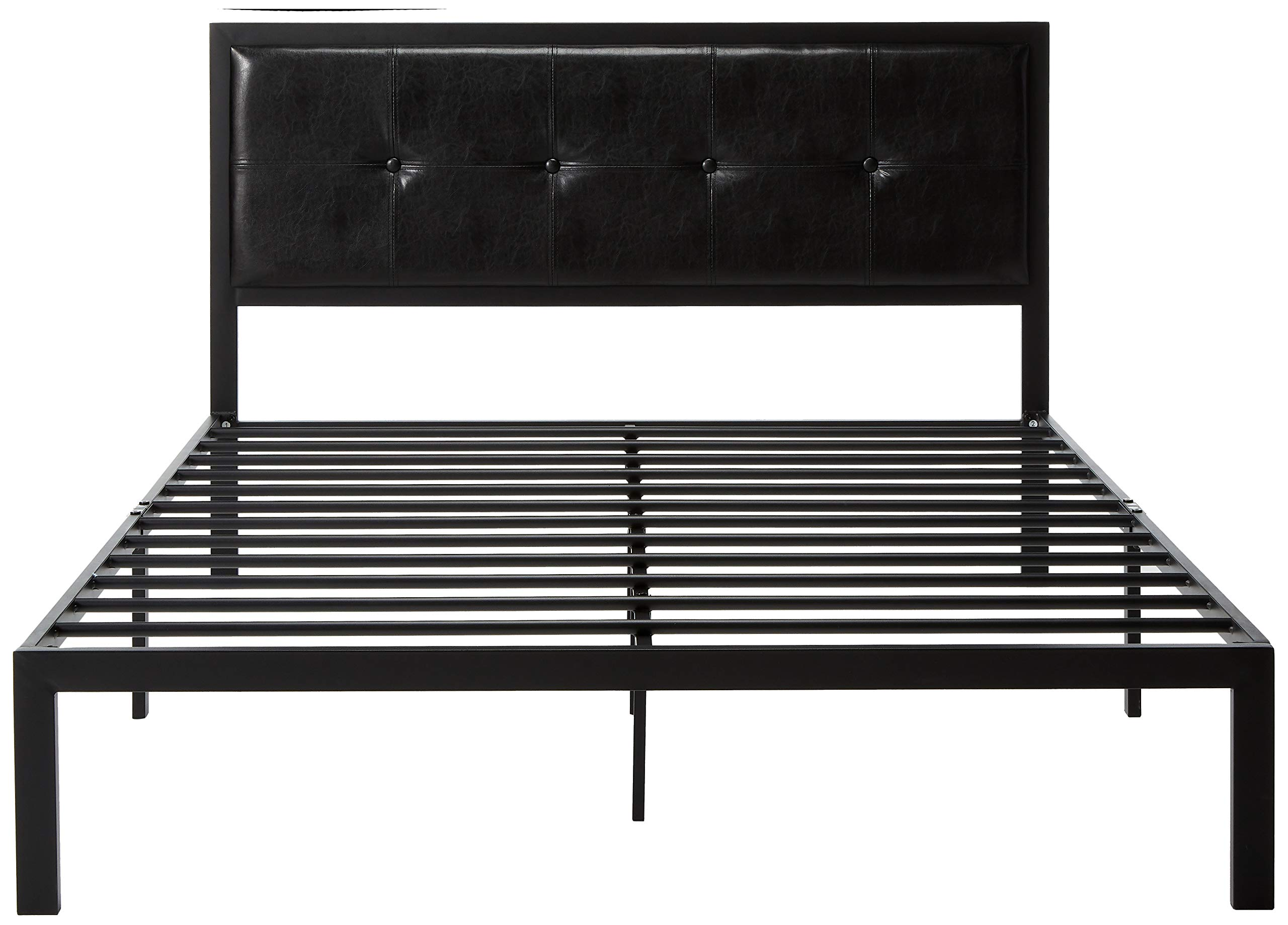 Zinus Cherie Faux Leather Classic Platform Bed Frame with Steel Support Slats, Twin