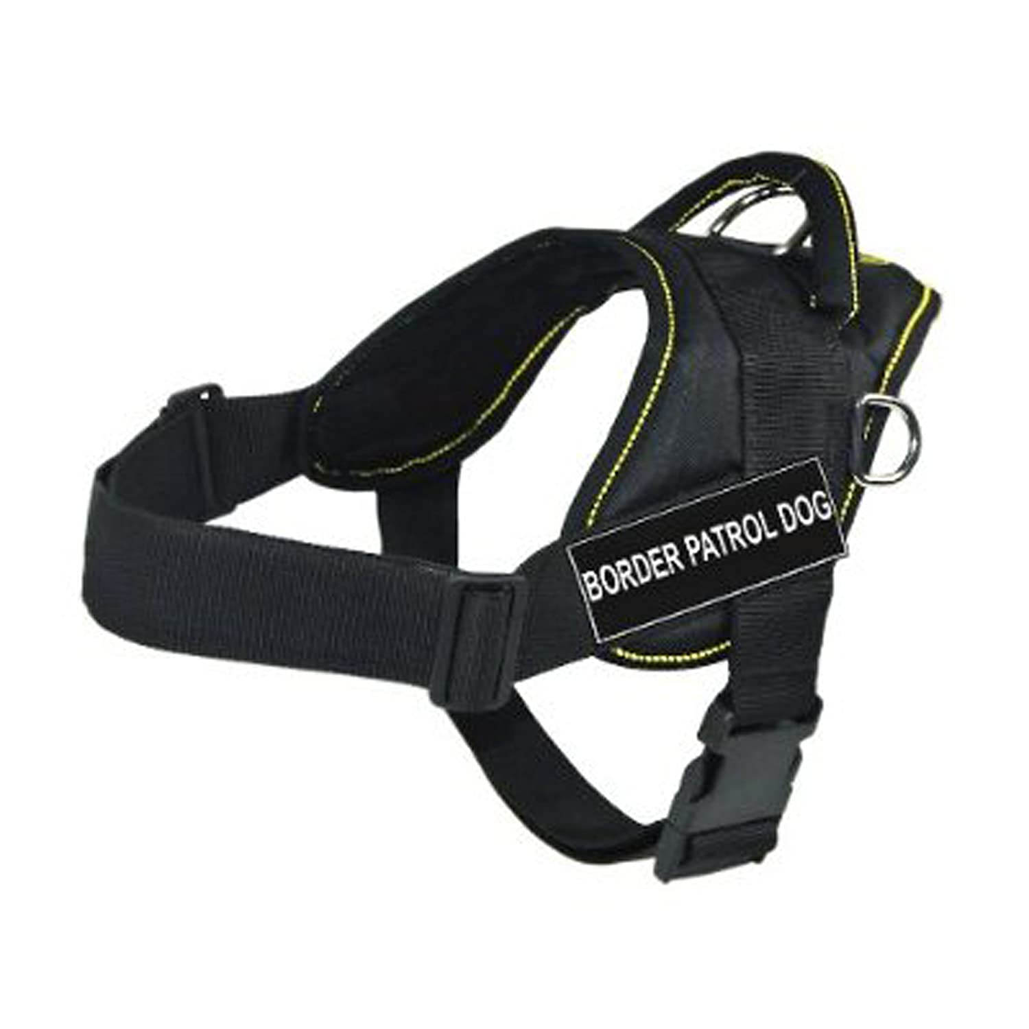 Dean & Tyler Fun Works Harness, Border Patrol Dog, Black with Yellow Trim, Medium, Fits Girth Size  28-Inch to 34-Inch