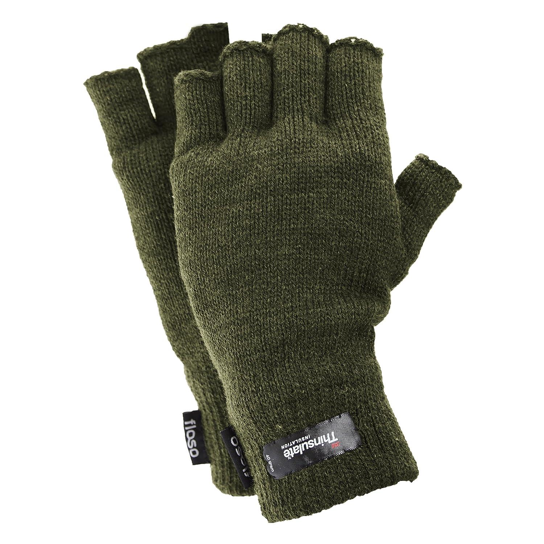 FLOSO/® Mens Thinsulate Thermal Fingerless Gloves 3M 40g