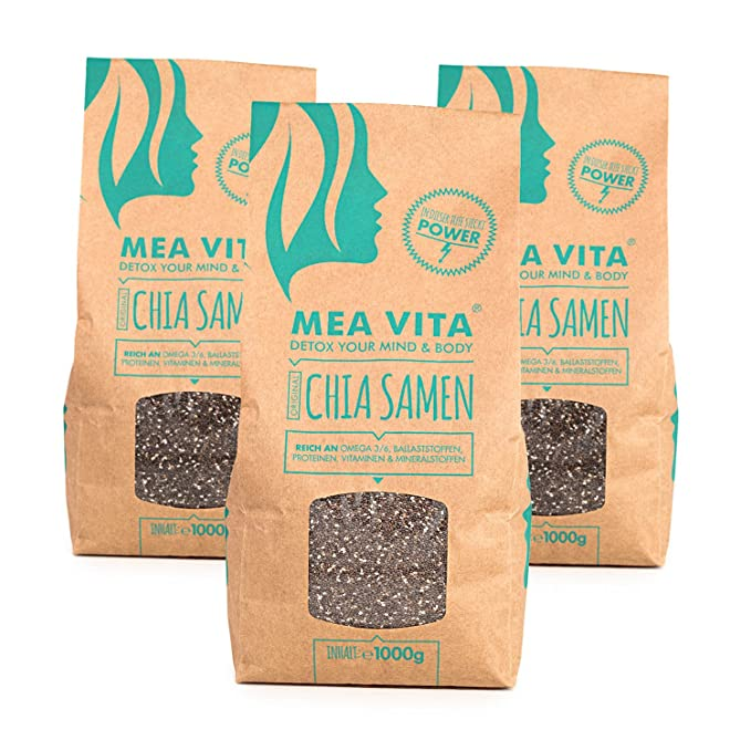 Las semillas de chía, MeaVita premium paquete 3er (3 x 1000 g)