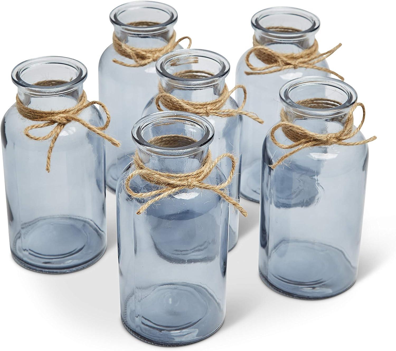 Small Glass Vase, Set of 6 Smoke Gray, Bud Vases, Apothecary Jars, Decorative Tall Bottles, Elegant Antique Decoration, Small Glass Flower Vases, Vintage Medicine Bottles for Home Decor, Centerpieces