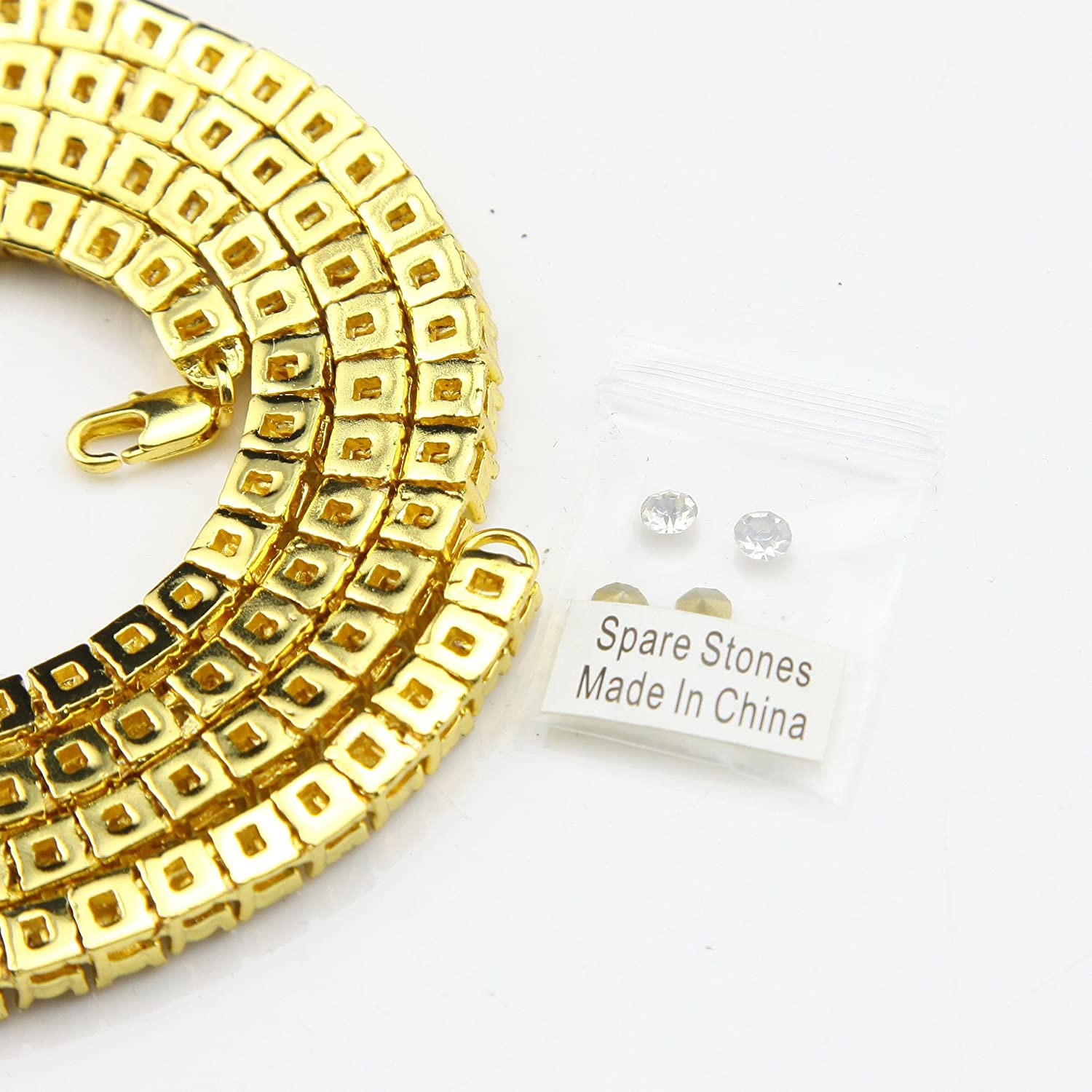 Goldenchen Mens Gold Tone Tennis Iced Out 20-30 5mm 1 Row Simulated Diamond Hip-Hop Chain Necklace