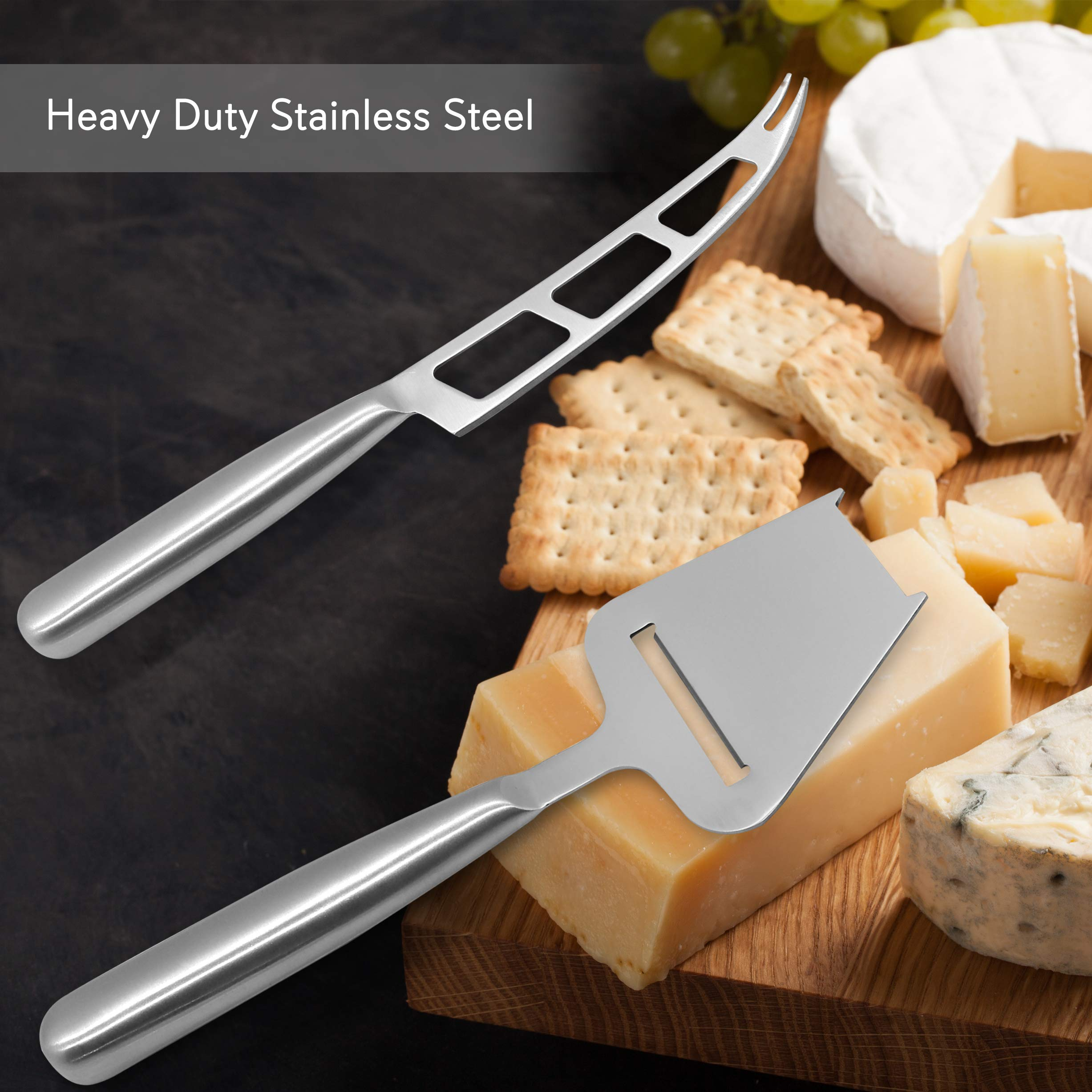 2 Piece Cheese Cutting Set - Portable Fancy Stainless Steel Non Stick Cheese Cutter Knife and Cheese Slicer - Cut, Shave, Slice, Serve, Spread - Gouda Blue Brie Parmesan Cheddar - NutriChef PKCNF10 by Nutrichef (Image #5)