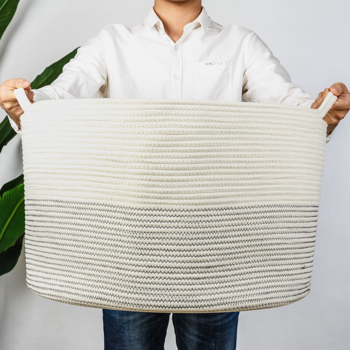 INDRESSME XXXLarge Cotton Rope Basket 21.7