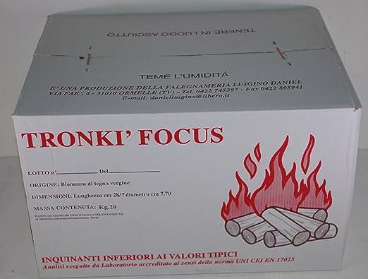 Tronki Focus - Briquetas de madera para estufas y chimeneas en paquete de 20 kg: Amazon.es: Bricolaje y herramientas