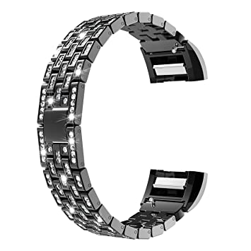 Wearlizer For Fitbit Charge 2 Strap, Metal Replacement Bands with  Rhinestone Straps for Fitbit Charge HR Two, Silver/Black/Rose Gold/Gold