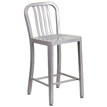 Flash Furniture 24u0027u0027 High Silver Metal Indoor Outdoor Counter Height Stool  With Vertical