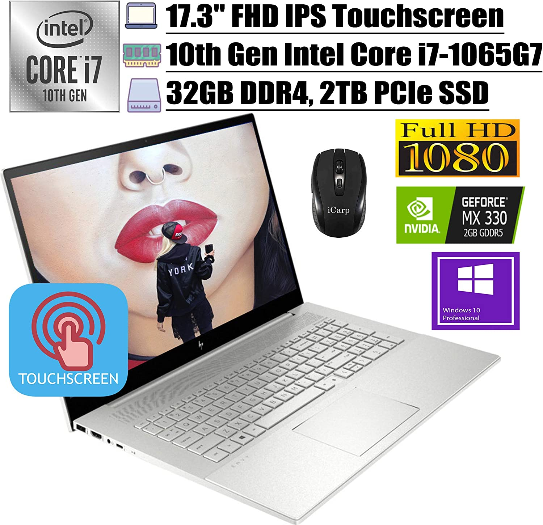"2020 Premium HP Envy 17 Business Laptop, 17.3""FHD IPS Touchscreen, 10th Gen Intel Quad-Core i7-1065G7, 32GB DDR4 2TB PCIe SSD, 2GB MX330FP Backlit KB Alexa Win 10 Pro + iCarp Wireless Mouse"